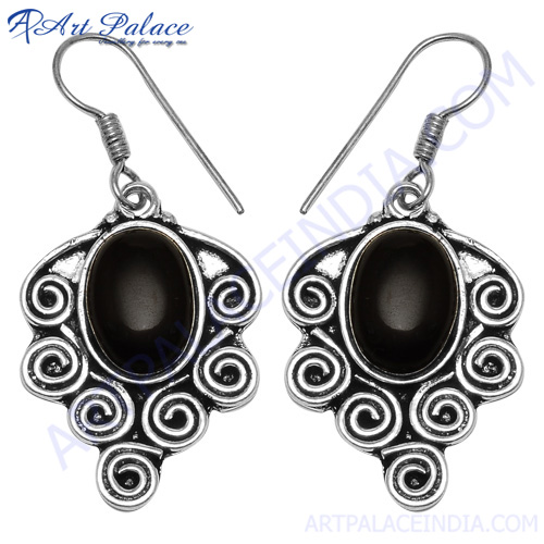 Traditional Onyx White Metal Earring, German Silver Jewelry