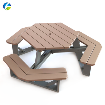 New Design 304 stainless steel bench legs with HDPE plastic wood table and chair