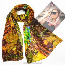 Hotselling three-color low MOQ silk habotai long scarves with paisley style