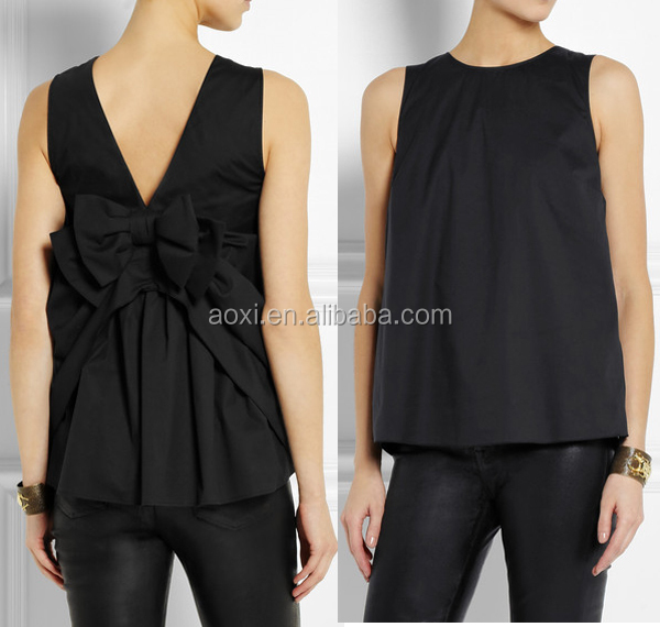 France elegant ladies tops latest design 2014 summer lady women black fancy sleeveless bow-embellished top
