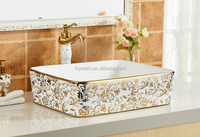 YL-78016GS Rectangular golden silvery Ceramic countertop art wash basin