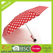 Convenient mini style 6 panels aluminum shaft pongee fabric with pouch manual open flat handle 5 folding umbrella