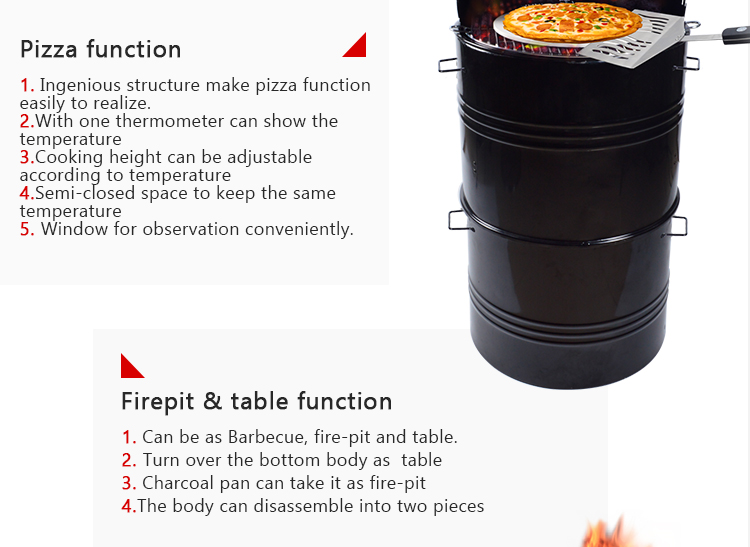 5 in 1 best vertical offset small Multi function drum Barrel BBQ grill upright portable charcoal smoker
