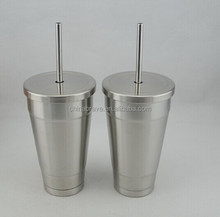Double Wall Stainless Steel Straw Cup 500ML/18 oz Water Mug with china factory