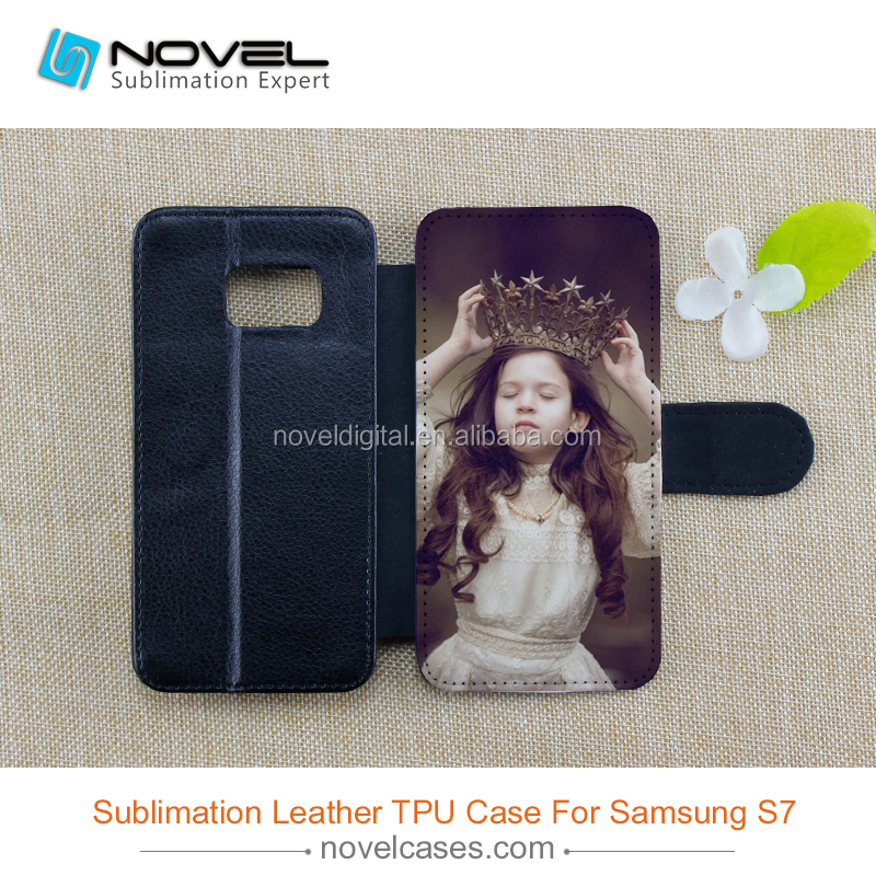 factory wholesale sublimation blank pu leather phone case for galaxy S7