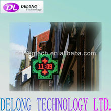 CE RoHS 64X64dot P16mm programmable metal outdoor bicolor pharmacy cross led display 1024X1024mm double sided