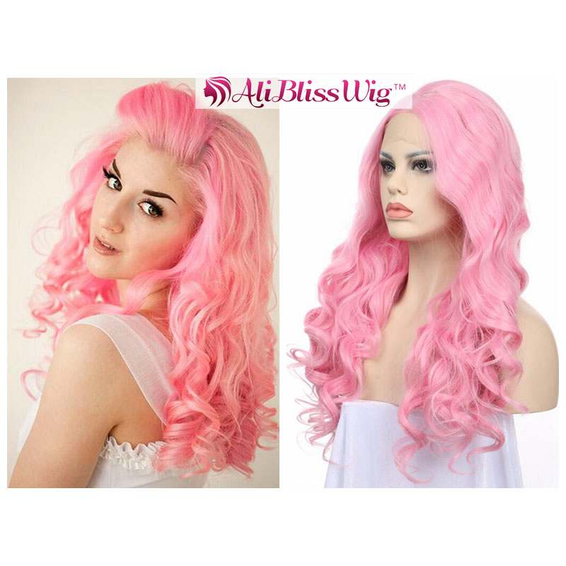 Wholesale Cheap Fashion 24 Inch Long Wave Heat Resistant Fiber Hair Pink Synthetic Lace Front Wig for White Women