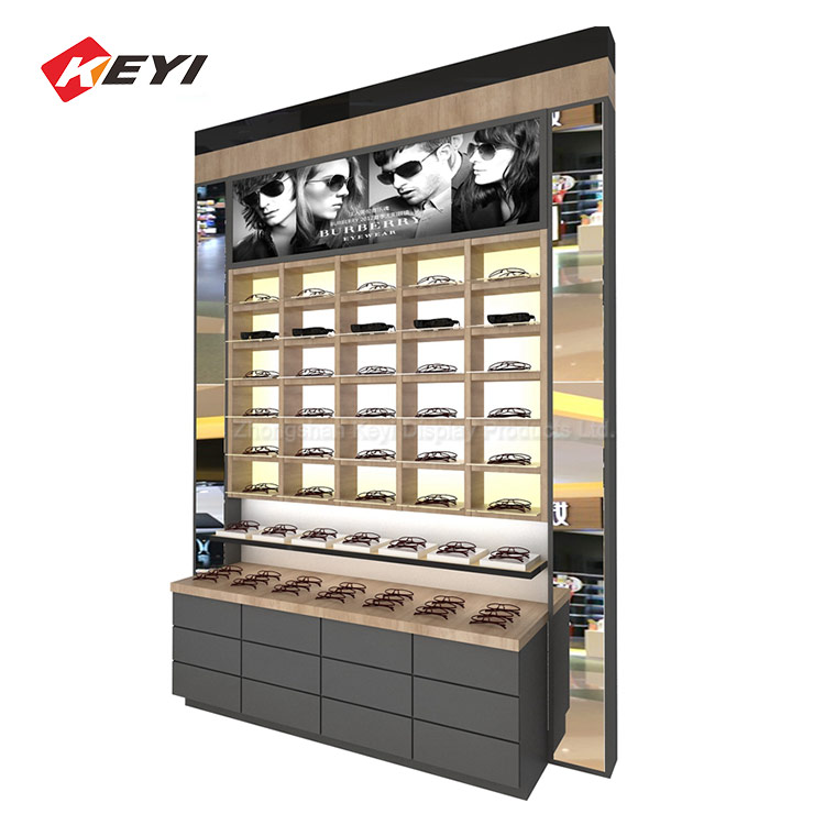 Professional Custom Optical Shop Interior Design Wall Showcase Glasses Unit,Sunglasses Display Cabinet
