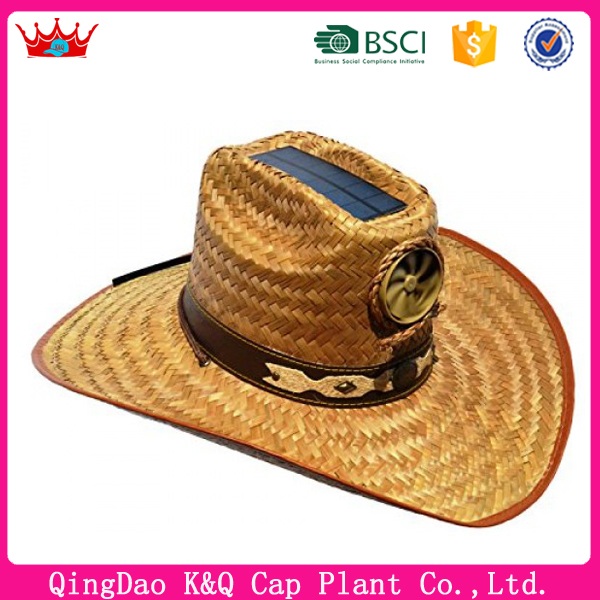 Custom specialized high quality wholesale wide brim sombrero solar fan straw hats