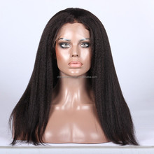 Bleach Knot Kinky Straight Human Hair Wig Peruvian Virgin Hair Full Lace Wigs