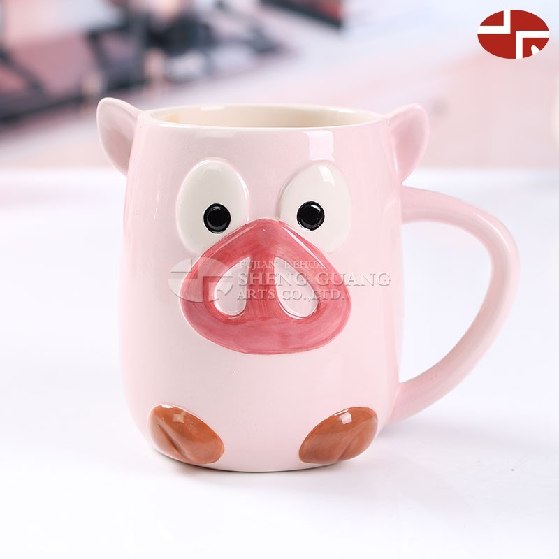 Ceramic pig design with painting dolomite water coffee milk mug cup children gifts