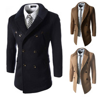 HIgh Quality Splicing Leather Knitted Collar Double-breasted Men Trench Coats M/L/XL
