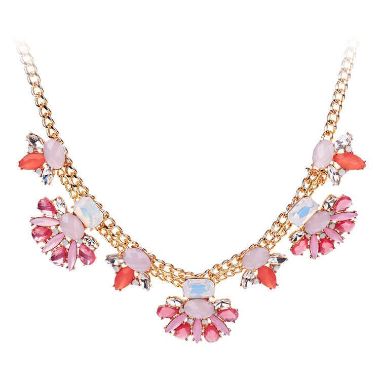 colorful rhinestone floral statement necklace