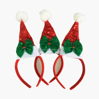 Santa Headband Headband Mini Santa Hat Headband with Mistletoe Green Bowknot Party Accessory