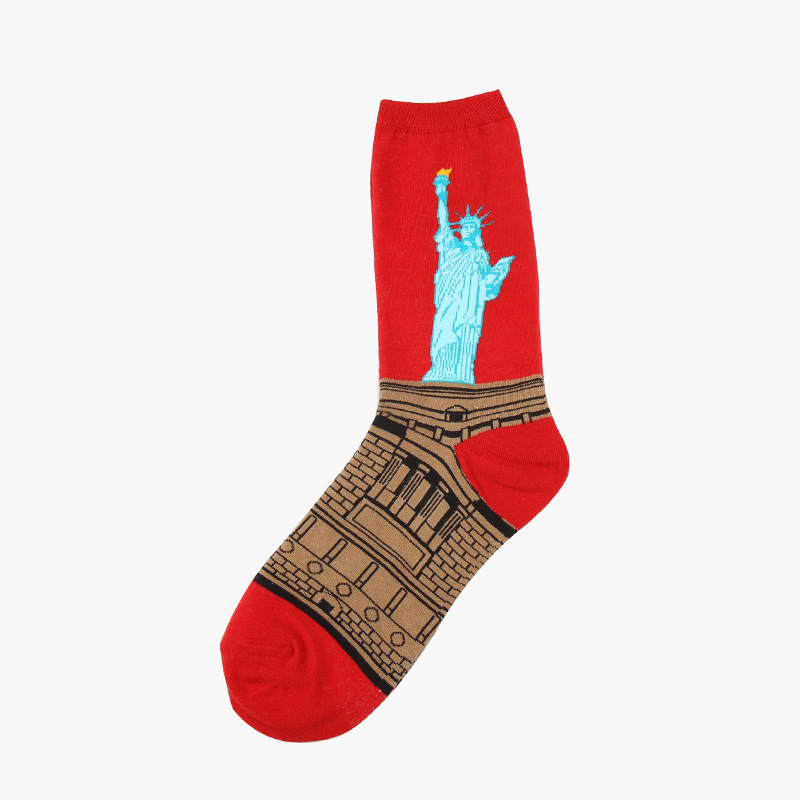 The statue of liberty cartoon mens fashion abstract design socks
