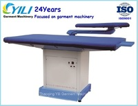 Flat vacuum ironing board with single buck arm/Single swing arm vacuum ironing machine