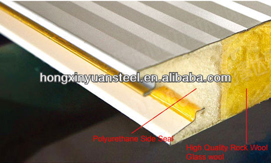 fireproof waterproof 75mm Rockwool sandwich roofing panel supplier