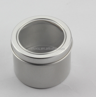 150G Soy wax candle aluminum tin box with pvc window