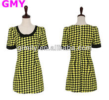 women 2014 houndstooth loose short dresses sari short sleeves dress with zipper for lady