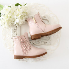 Beautiful kids safe boots flower decoration shoes girls fancy winter boots from guangzhou