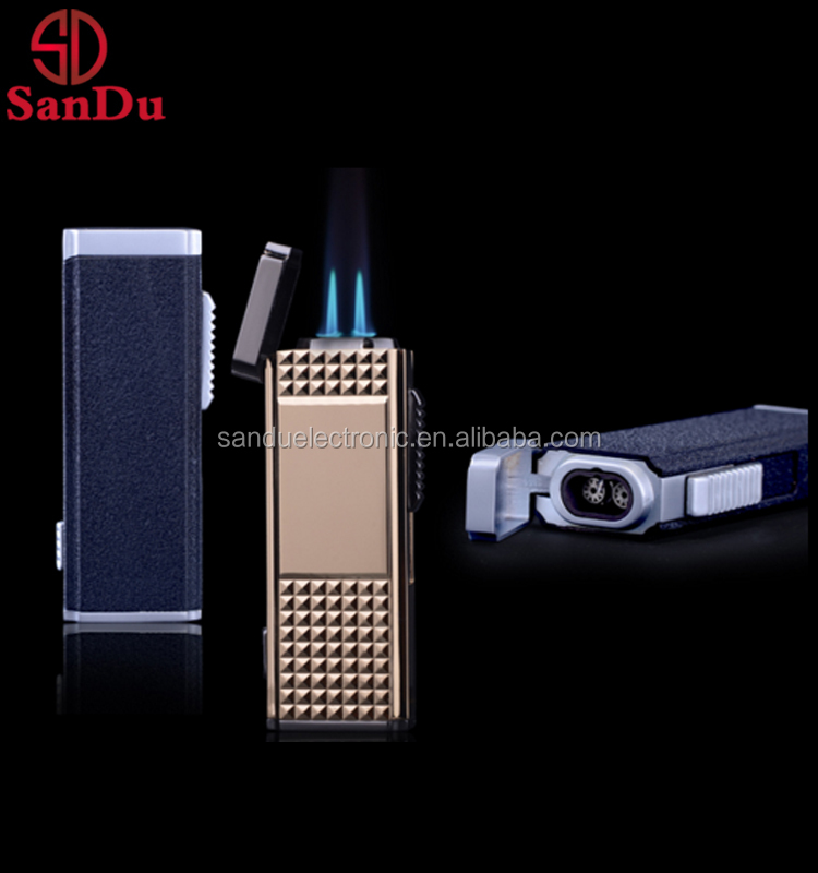 portable butane gas torch lighter double jet flame blue flame