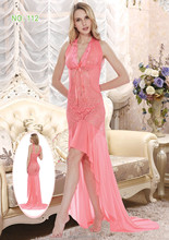Fancy lace long maxi dress super transparent lady nightgown