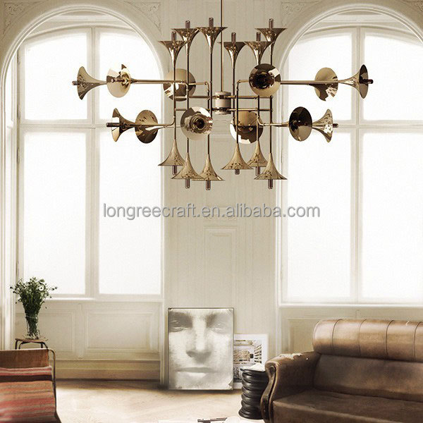 Classic Metal Trumpet Shape Gold Color Chandelier Lamp Lighting Fixture for hotel decor