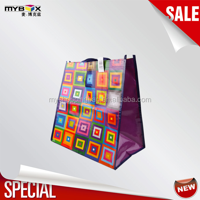 Checkered pattern colorful laminated shopping pp woven bag shopping bag