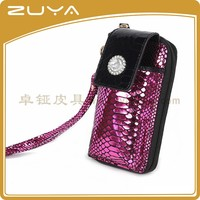 Women Shiny material wallet with mobile phone holder