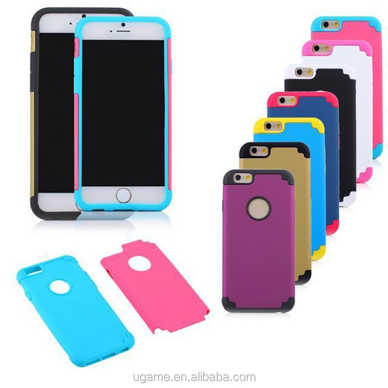 2014 High Quality Silicone +pc Decorative Cell Phone Cases with double color for iphone 6