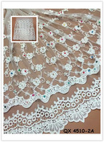 2016 polyester nylon spandex lycra beaded stretch jacquard lace fabric