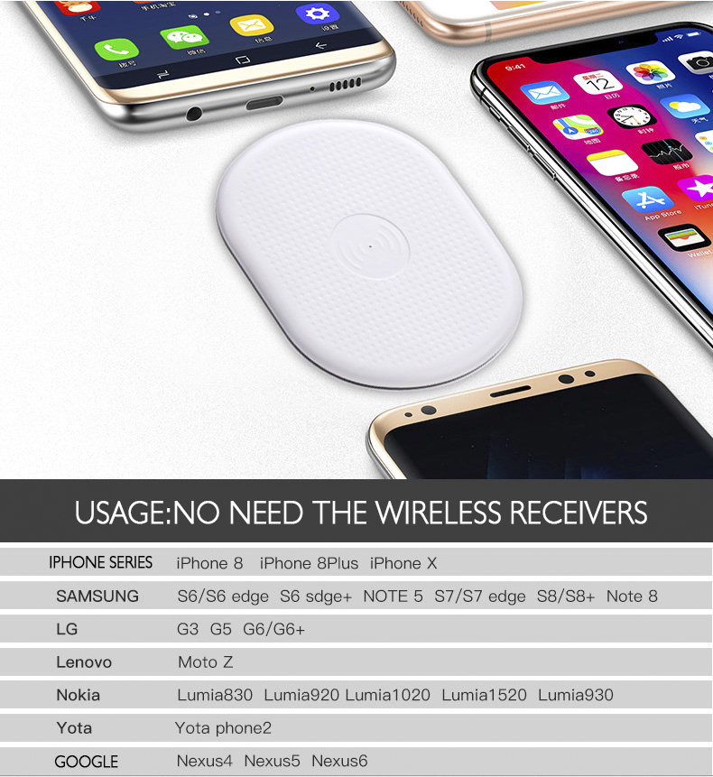 Full of automatic power off support qc/qi fast charging wireless cell phone charger