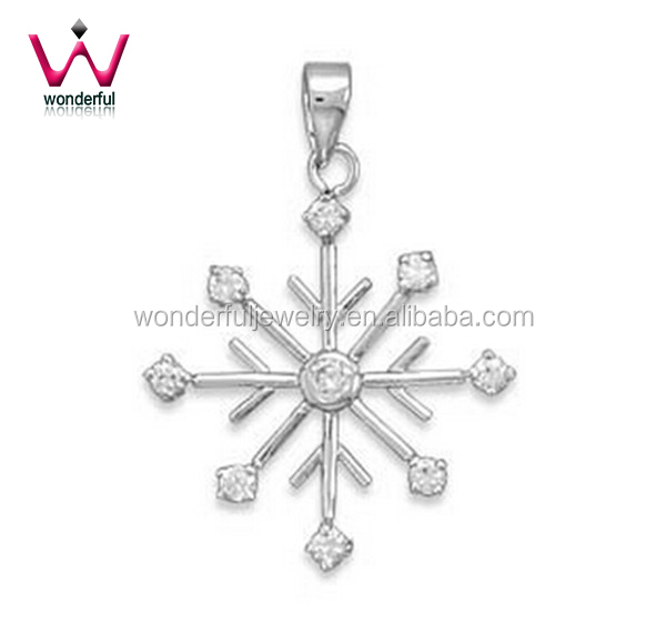 Snowflake Pendant Stainless Steel French Wire Pendant with Cubic Zirconias