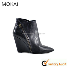 A-20 Black pointed toe shoes with wedge heel,wholesale ladies sexy leather fashion booties 2015