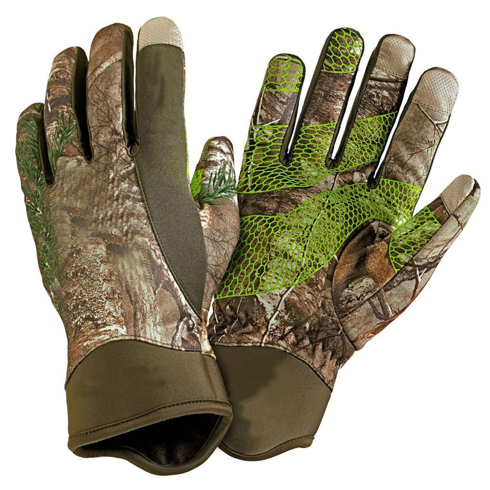 Camo print touch screen hunting gloves