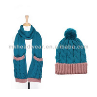 Wholesale Warm Hand Cable Knitted Women/Girls Winter Scarf&Hat Set with Pocket