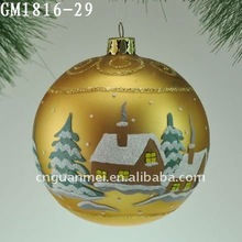 Golden color-painting xmas handmade glass decorative hanging balls