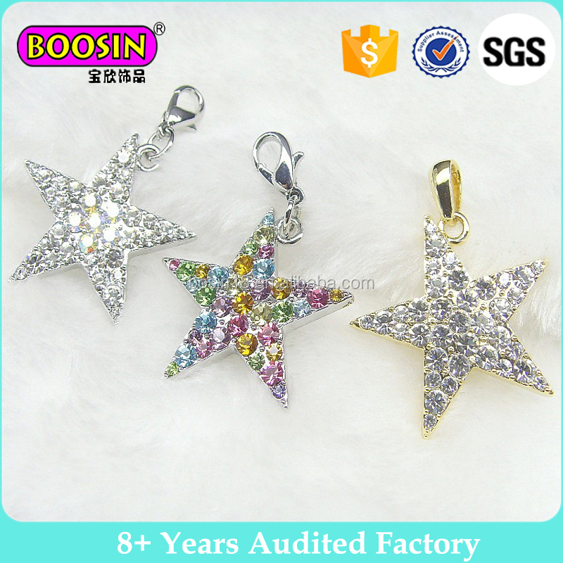 wholesale fashion jewellery crystal colorful charms star charm for gift #14267