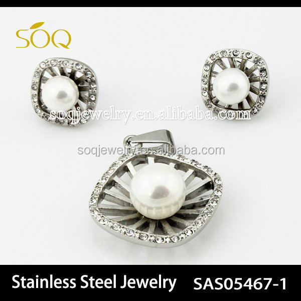 SAS05467-1 Silver plated CZ Crystal Charms Stainless Steel Pearl Jewelry