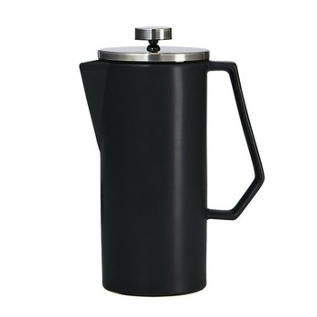 china french press stainless steel plunger Matte black stoneware Dishwasher-safe