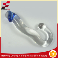 Clear Pyrex Glass Dildo with Blue Glans and Butt Plug FF-G9371