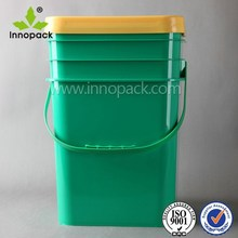 20L plastic pail bucket , custom square pail with lid