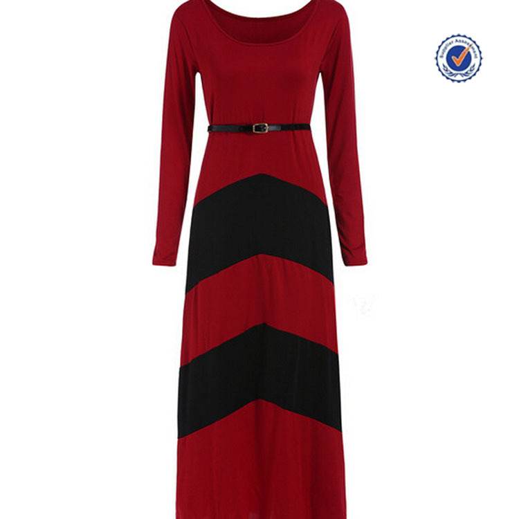 2016 Spring round neck color block black and red long sleeve maxi evening dress
