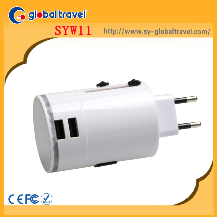 customized creative promotional corporate gifts items universal travel plug adapter adaptor with usb port charger