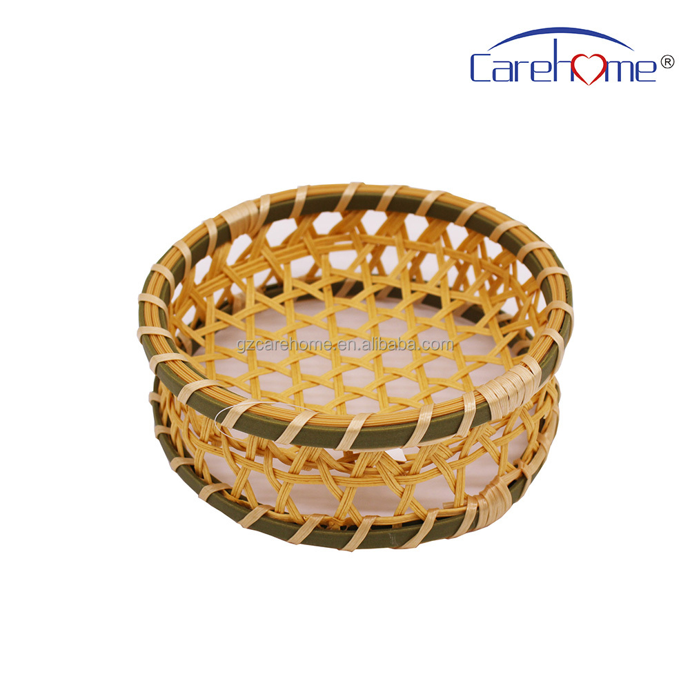 handmade woven plastic rattan bread basket,polypropylene bamboo food basket for sushi