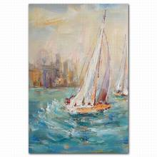 Modern seaside scenery printing painting on canvas sail boats photos