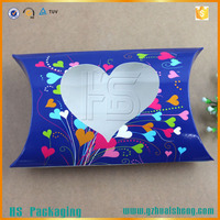Die cut heart shape custom printed paper pillow box packaging for hair extension