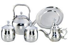 silver plated stainless steel tea pot set