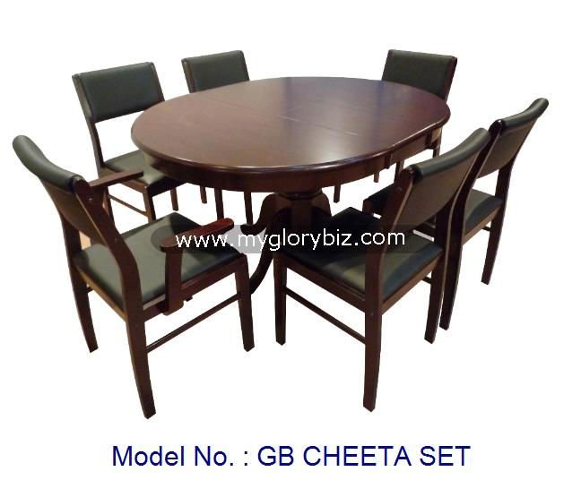 Wooden Dining Set Malaysia In 1+6 Of Armchairs, Side Chairs And Extendable Oval Table For Home Furniture With Antique Design