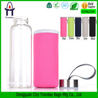 High quality neoprene water bottle cover wine bottle cooler bag with handle